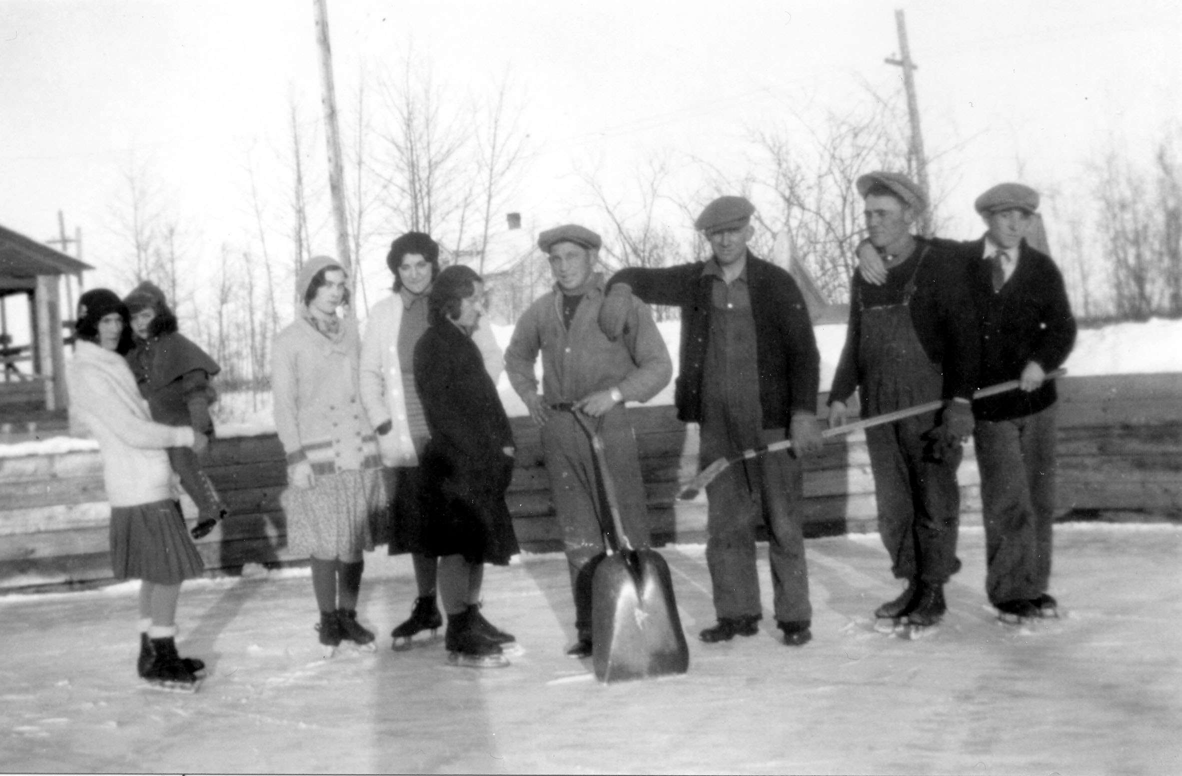Clearing the ice for skating